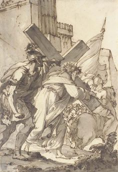 Ubaldo Gandolfi (1728–1781), Christ on the Way to Calvary; black chalk, pen and brown ink, grey wash, 279x190 mm