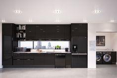 LG Black Home Appliances kitchen Atlanta Condo, Neutral Kitchen, Barn Living, Kitchen Cabinets, Kitchen Appliances, Black House, Country Life, Contemporary, Family Kids