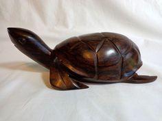 Hand Carved Wood Turtle Sculpture Ironwood Tortoise Figurine