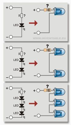 Connection diagrams of leds in series Electrical Diagram, B … - Life and personal care Electronics Projects, Simple Electronics, Electronic Circuit Projects, Hobby Electronics, Electronics Components, Electronic Engineering, Engineering Technology, Computer Technology, Electrical Engineering