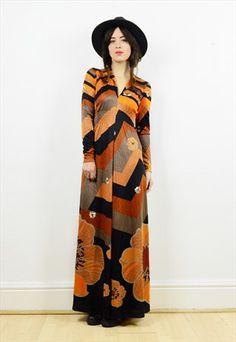 70s+retro+floral+print+long+sleeved+maxi+dress