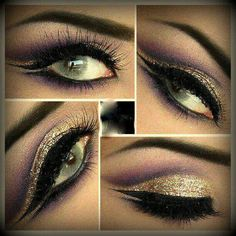 Cleopatra-esque look create cut crease with dark brown eyeliner and set with a deep purple shadow and blend Add bright plum/purples in the crease apply highlight on brow bone. Then fill the lid space with gold then apply a wet eyeliner sealant Egyptian Eye Makeup, Cleopatra Makeup, Golden Eye Makeup, Medusa Costume Makeup, Cleopatra Costume, Maleficent Costume, Maquillage Halloween, Halloween Makeup, Costume Halloween