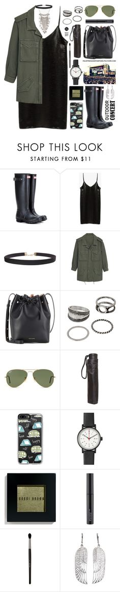 """""""60-Second Style: Outdoor Concerts"""" by palmtreesandpompoms ❤ liked on Polyvore featuring Hunter, Humble Chic, MANGO, Mansur Gavriel, Ray-Ban, Dorothy Perkins, Casetify, Void, Bobbi Brown Cosmetics and Handle"""