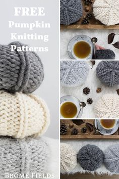 {FREE} PUMPKIN : Fall Decoration Knitting Patterns - Brome Fields : FREE Fall Decoration Pumpkin Knitting Pattern in multiple sizes. Great left-over yarn project! This is a versatile pattern, so you can use any yarn you have on hand. Halloween Knitting Patterns, Beginner Knitting Patterns, Easy Knitting Projects, Yarn Projects, Knitting For Beginners, Knitting Yarn, Free Knitting, Knitted Owl, Quick Knits