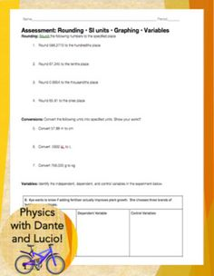 Assessment: Rounding • SI units • Graphing •... by Physics with Dante and Lucio | Teachers Pay Teachers
