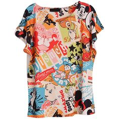 Blue Womens Crew Neck Disney Cartoon Printed Cotton T-shirt ($12) ❤ liked on Polyvore featuring tops, t-shirts, shirts, disney, graphic tee, blue, crew neck t shirt, graphic tees, disney tee and comic book