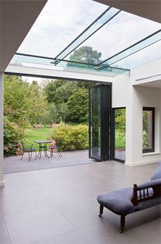 Modern houses photos pivot door and frameless glass box extension