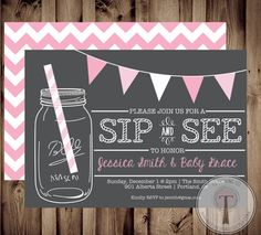 Sip and See Adoption Baby Shower. We're soooo going to have a Sip & See for this baby :) Sip And See Invitations, Baby Shower Invites For Girl, Baby Shower Invitations For Boys, Diy Invitations, Baby Boy Shower, Adoption Baby Shower, Welcome Baby, Reveal Parties, Baby Party