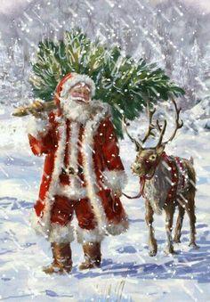 Father Christmas and his reindeer Christmas Scenes, Noel Christmas, Victorian Christmas, Winter Christmas, Christmas Crafts, Christmas Decorations, Christmas Ornaments, Father Christmas, Reindeer Christmas