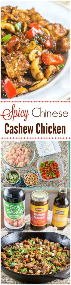 This Spicy Chinese Cashew Chicken recipe is my homemade version of our favorite… #chinesefoodrecipes