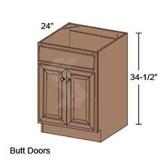 SB30 - Shaker Maple Toffee Sink Base Cabinet ( 2 Butt Door, 1 False Drawer) - Deerfield Assembled Kitchen Cabinet