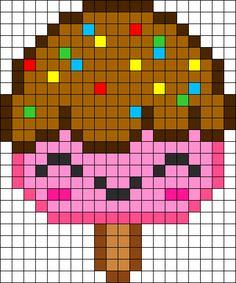 PRINTED Free Kawaii Ice Cream perler hama bead pattern or cross stitch chart Pearler Bead Patterns, Kandi Patterns, Perler Patterns, Beading Patterns, Embroidery Patterns, Cross Stitch Patterns, Pixel Art Glace, Perler Bead Art, Perler Beads