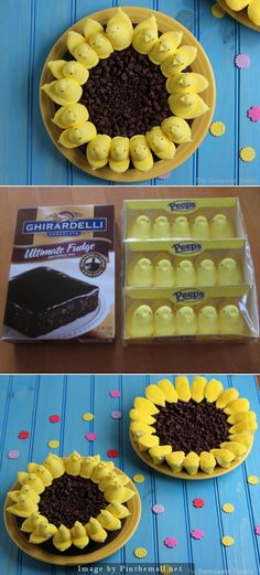Peeps Sunflower Brownies for Easter. Super Easy to make, boxed brownies + PEEPS!