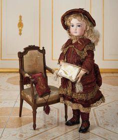 "French Bisque Bebe ""H"" by Aristide Halopeau in Original Burgundy Silk Ensemble 30,000/40,000 Auctions Online   Proxibid"