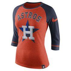 Nike Houston Astros Women's Heathered Orange Tri-Blend 3/4-Sleeve Raglan T-Shirt