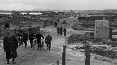 Vadsø, Northern Norway 1945. Retreating German forces burnt down more than 12000 houses and other valuable infrastructure in Finnmark and Northern Troms in late 1944 and early 1945. More than 50000 inhabitants were forced from their homes and livestock were slaughtered. The popolations and their livestock suffered tremendously during the brutal executed scorched earth operations when ill-diciplied and often drunken German soldiers torched houses, looted, raped and commited cruelties.