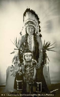 Chief Charlo and granddaughter western Montana 1940