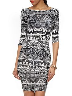 White Tribal Print Long Sleeve Bodycon Dress | abaday