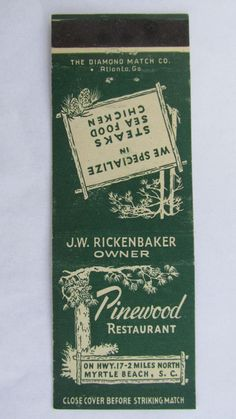 Pinewood Restaurant N/ Myrtle Beach, South Carolina SC 20 Strike Matchbook Cover