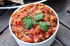 Eggplant Caponata - We love eggplant but have had to find just the right recipe for it.  Try this one...we liked it.  From wearenotmartharecipes.com