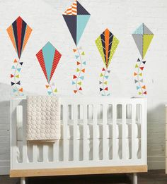 Boys Kites WALL DECAL by TheLovelyWall on Etsy, $60.00 - could do several colors with the kites and use those throughout room