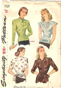 Simplicity 1121; ca. 1945; Misses' and Women's Overblouse: Styles I and II are seamed down the center front and finnished with soft gathers at the side front. Style I has long sleeves and a soft bow tie at the neck. Style II features extended armholes cut on one with the blouse, a slit opening at the neck and applied bias fold at the lower edge. In Style III, the shoulder yoke laps over to form a surplice effect. There is also a yoke at the hip finished with a soft bow. Choose short or…