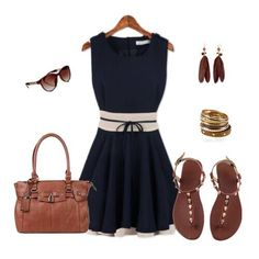 Black sundress with sandals belt and handbag... so cute relaxing for the summer weather team or women outfit