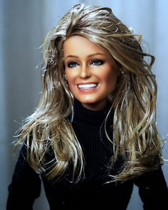 Mattel Repainted Black Label Barbie of Farrah Fawcett (version Restyled and repainted by Noel Cruz. Farrah Fawcett, black label repainted by Noel Cruz Fashion Royalty Dolls, Fashion Dolls, Pretty Dolls, Beautiful Dolls, Celebrity Barbie Dolls, Afro, Diva Dolls, Farrah Fawcett, Vintage Barbie Dolls