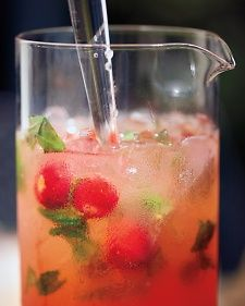 Strawberry, Basil, and Honey Punch.   Martha Stewart.  This sounds so refreshing and yummy!