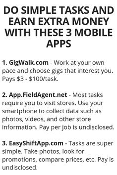 Do Simple Tasks And Earn Extra Money With These 3 Mobile Apps - Money Management - Ways To Earn Money, Earn Money From Home, Earn Money Online, Online Jobs, Money Saving Tips, Way To Make Money, Online College, Money Today, Money Tips