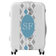 #Funky Blue/Gray Diamond Monogram Luggage - #luggage #suitcase #suitcases #bags #trunk #trunks