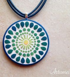 Artumei polymer clay mosaic pendant