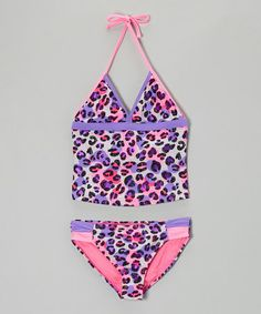 This Purple & Pink Kitty Cat Tankini - Girls by Angel Beach is perfect! #zulilyfinds