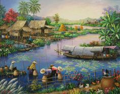 Anh dep Beautiful Landscape Pictures, Beautiful Landscapes, Nature Paintings, Landscape Paintings, Scenery Tattoo, Snapshot Photography, Mother Art, Art Village, Thai Art
