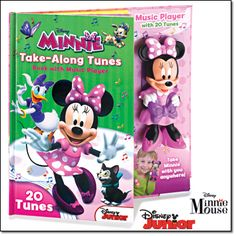 "MINNIE MOUSE TAKE ALONG TUNES BOOK WITH MUSIC PLAYER. 12"" x 12"". 32 pages. 2 AAA batteries not included. Imported. Ages 3 and up. Avon Living magalog: $19.99. ©Disney"