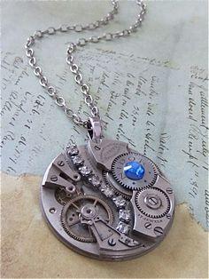 Steampunk Jewelry Necklace - Vintage Pocket Watch Movement - Rare Howard Pocket…