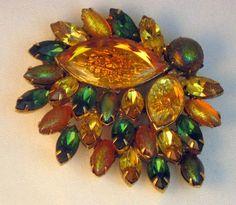Vintage Kramer Huge Green & Gold Iridescent Art Glass Brooch#vintagejewelry…