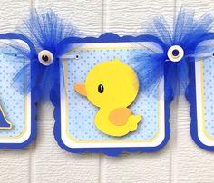 Duck baby shower banner, duck banner, blue and yellow, etsy, handmade banner, nancysbannerboutique, it's a boy banner