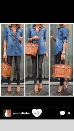 Denim shirt with black skinnies and animal print heels. You amen er go wrong with a denim shirt, black skinnies(coated r my fave) Looks Camisa Jeans, Fall Outfits, Casual Outfits, Outfit Winter, Winter Shoes, Winter Ootd, Summer Outfit, Work Outfits, Look Fashion