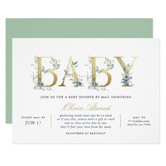 Luxe Floral Baby Shower by Mail Invitation Classy Baby Shower, Mint Baby Shower, Beautiful Baby Shower, Floral Baby Shower, Baby Shower Invites For Girl, Baby Shower Invitations, Girl Shower, Pink Invitations, Elegant Invitations