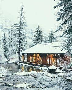 Cabin and Chalet Snow Cabin, Cozy Cabin, Forest Cabin, Winter Cabin, Cabin Homes, Log Homes, Mountain Living, Cabins And Cottages, Log Cabins