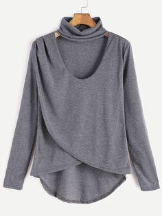 Cheap shirt slim, Buy Quality shirts and blouses for women directly from China shirt women Suppliers: ROMWE Clothes Women T-shirt Clothes Tee Shirt Long Sleeve Tops Grey Dip Hem Choker Neck Wrap Front Casual T-shirt Long Sleeve Tee Shirts, Long Sleeve Tops, Fall Shirts, Women's Shirts, Neck Choker, Sweaters And Jeans, Plus Size Casual, Grey Fashion, Fashion Fashion