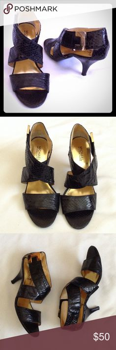 "HOST PICK M.K. Snakeskin Heels Excellent condition, genuine snakeskin, wide strap, 2.5"" heel, gold buckle has a Velcro closure, some light scratches on gold buckle. MICHAEL Michael Kors Shoes Heels"