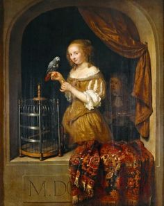 Caspar Netscher's Woman Feeding a Parrot to be auctioned at Christie's Old Master Sale in New York on 6/6/14.  Netscher was a pupil of Gerard ter Borch.  His interior scenes are exquisite and highly finished.