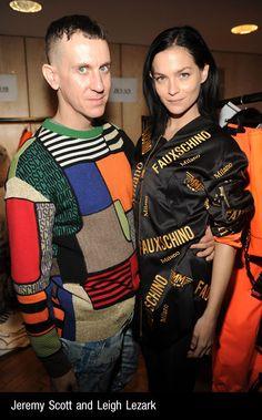 Leigh Lezark and Jeremy Scott at the Moschino Uomo Fall/Winter 2015 fashion show!