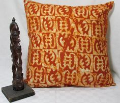 African Print Adinkra Symbol, orange and gold, 16 x16 Pillow Cover - pinned by pin4etsy.com