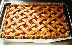 Sour Cherry Slab Pie: part of my 600 square inches of pie made in one day for a Pig Roast Party.