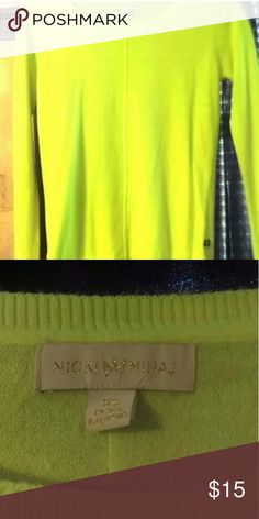 Nicki Minaj neon sweater Worn once and in great condition. It really is a beautiful color(: no flaws. THE NICKI MINAJ COLLECTION Sweaters Crew & Scoop Necks
