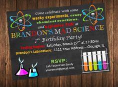 Mad Science / Science Laboratory Birthday Party Invite - Invitation by AmbiB Designs