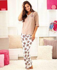 Women's Sock Monkey Loungewear Pajama Set 6/8 10/12 14/16 or 18/20  #Imported #PajamaSets